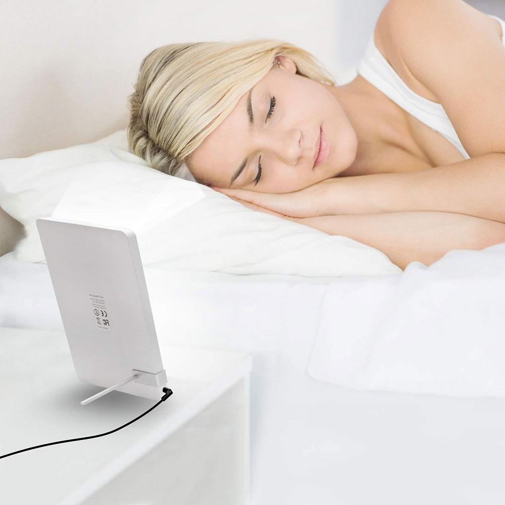 Aourow lampe luminothérapie La Deprime de 10 000 lux : réveil simulateur d'aube