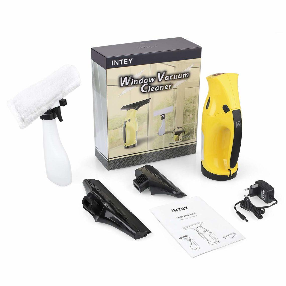 INTEY Nettoyeur de Vitre Electrique Aspirateur-6 kit de nettoyage complet