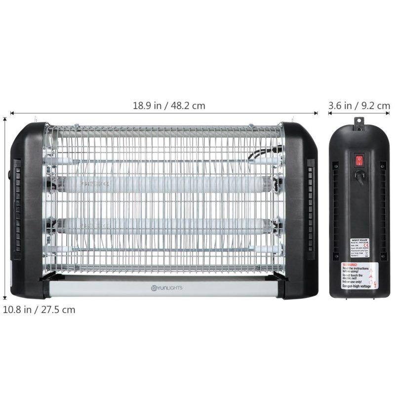 YUNLIGHTS lampe anti moustique et anti insectes UV intérieur et extérieur -6 dimensions